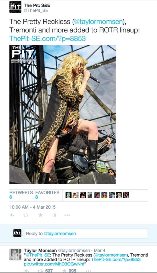 By adding a photo from 2014's Rock On The Range and tagging her, Taylor Momsen shared our tweet about news that The Pretty Reckless was joining ROTR in 2015. The tweet is still blowing up our notifications to this day.