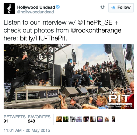 Hollywood Undead shared our interview and photos from Rock On The Range that featured their set.